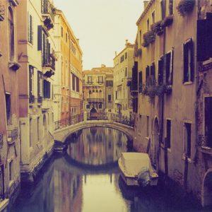 Venice Bridge and Covered Boat, Venice Italy