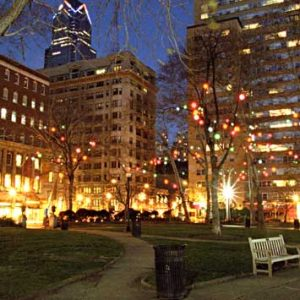 Liberty One and Two, Evening, Rittenhouse Square, Philadelphia, photograph