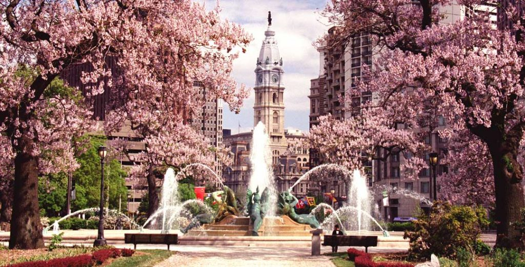 Swann Fountain, Spring. Philadelphia, photograph