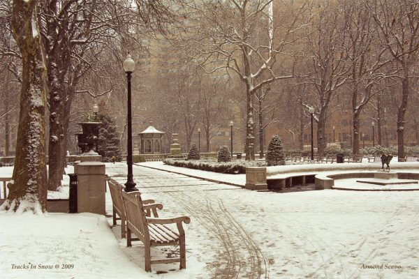 Tracks In Snow, Rittenhouse Square, Philadelphia, photograph