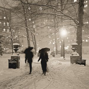 Umbrellas In Snow, Rittenhouse Square, Philadelphia, photograph