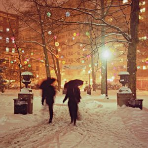 Umbrellas In Snow, Rittenhouse Square, Philadelphia, photograph