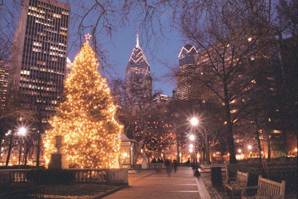 Happy Holidays, Rittenhouse Square, Philadelphia, photograph
