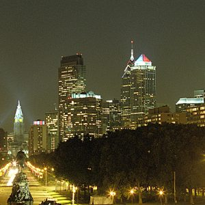Benjamin Franklin Parkway, Evening, Philadelphia, photograph
