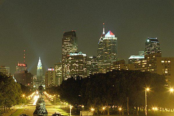 Benjamin Franklin Parkway, Evening, Philadelphia, photograph