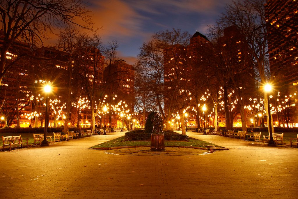 White Light Christmas and Blue Sky, Rittenhouse Square, Philadelphia, photograph