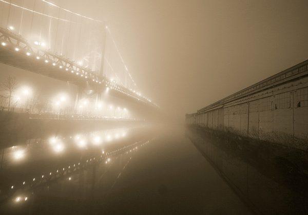 Benjamin Franklin Bridge and Pier in Fog (Sepia)